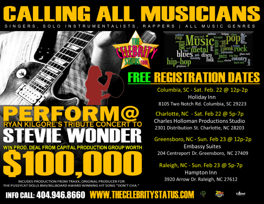 registering the best singers, musicians, and rappers  at the locations listed on the flyers.  At a later date there will be an actually talent audition to select new emerging artist.  If you know anyone that would like to come to this first round of registrations give them the following attached forms that have my name on it.  I am not representing these artist as an agent so i am not collecting any commissions from the artist.  I am simply in the interview process for the company.  - John E Scott Richardson
